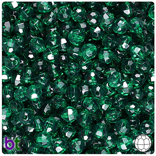 - BeadTin Forest Green Transparent 6mm Faceted Round Craft Beads (750pcs)