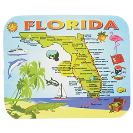 Florida Ocean Map.Amazon Com Computer Mouse Pad Florida Blue Ocean Map Souvenir