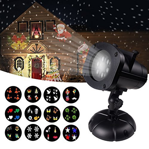 Christmas Projector Lights Outdoor, Jeniulet 12 Patterns Waterproof Decorations...