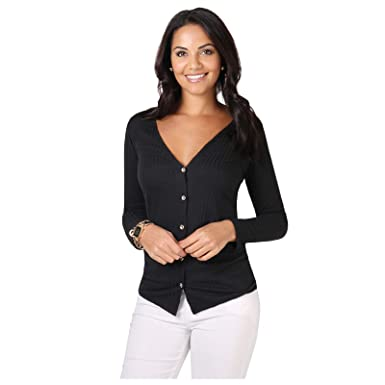 5960a95fd7 KRISP® Women Jersey Basic Cardigan Button Down V Neck Plain Sweater   Amazon.co.uk  Clothing