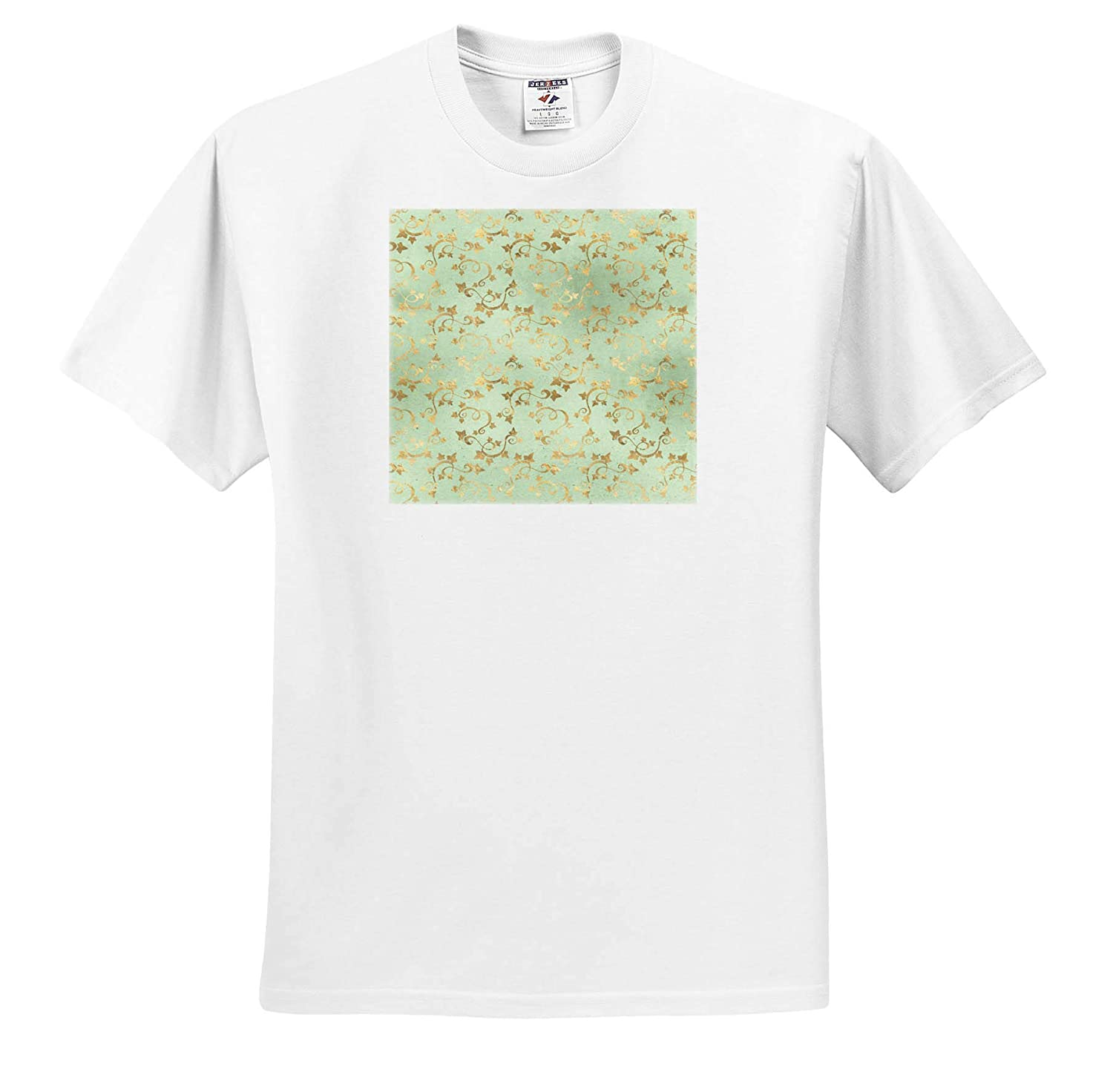 ts/_309748 3dRose Anne Marie Baugh Adult T-Shirt XL Pretty Image of Gold Ivy Leaves On Soft Green Pattern Patterns