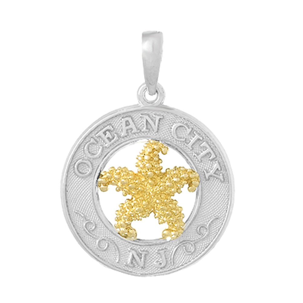 925 Sterling Silver Travel Charm Pendant, Ocean City, NJ, On Round, 14k Gold Starfish Center