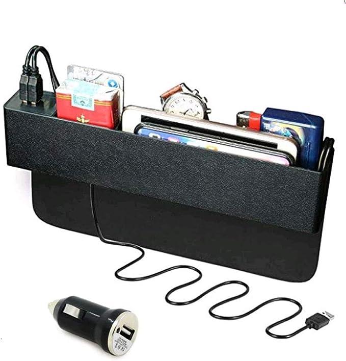 Baobë Seitliche Organizer Box Für Autositze Aufbewahrungsbox Für Auto Füller Für Autolücken Organizer Für Autotaschen Und 2 Usb Ladestationen Für Mobiltelefone Auto