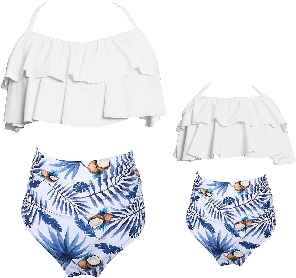 Women Girls Swimming Costume Diverse Style Swimwear Backless Floral Print Off Shoulder Bikini,Parent-Child Swimsuit
