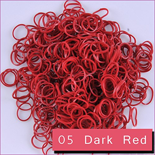 Kirinstores (TM) 600 PCS 24 Clips Bands Refills for Loom Rainbow Bracelet Dress Making (05 Dark Red) (Red Bands For A Loom)
