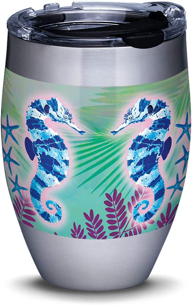 Tervis Guy Harvey - Neon Sea Horses Stainless Steel Insulated Tumbler with Lid, 12 oz, Silver