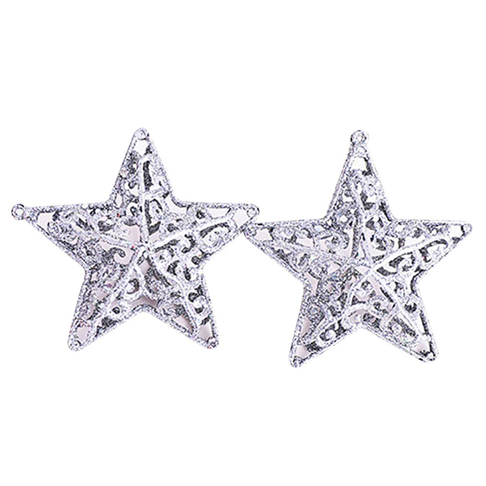 Chenway Xmas Glitter Hollow Snowflake Hanging Star Christmas Party Decor Tree Ornament, Artificial Craft Gifts Party Mini Decorations Festival Xmas Decor (Silver)