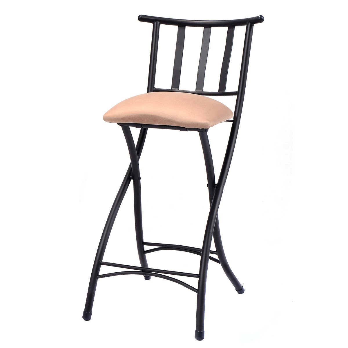 """COSTWAY Set of 4 Folding Bar Stools Counter Height Bistro Dining Kitchen Pub Chair (Height From Ground To Seat: 22.8"""")"""
