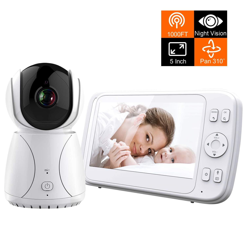 Bable Baby Monitor G1-Plus 5 TFT LCD Display Video Monitor, Visione Notturna Monitoraggio della Temperatura, 2 vie Citofono Sistema, Tracciamento automatico, VOX
