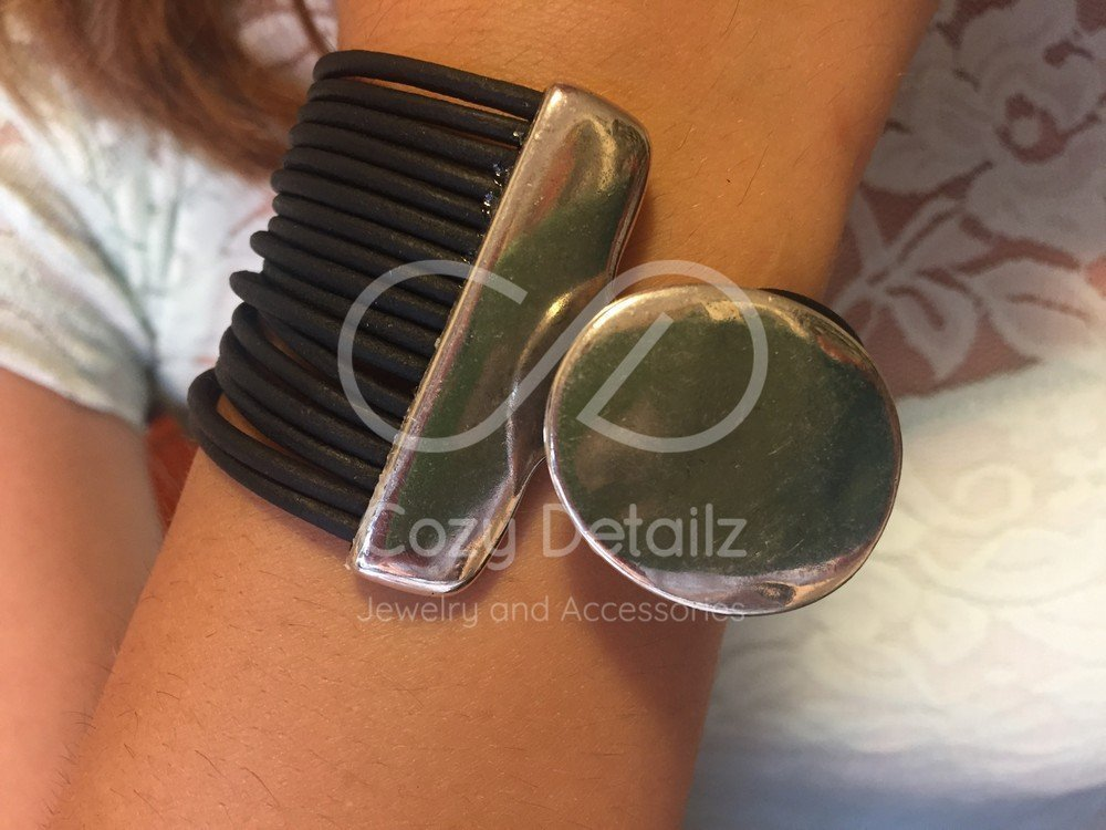 multistrand bracelet, women leather bracelet, unique gifts for women, zamak sterling silver bracelet, Uno de 50 style bracelet, FREE SHIPPING