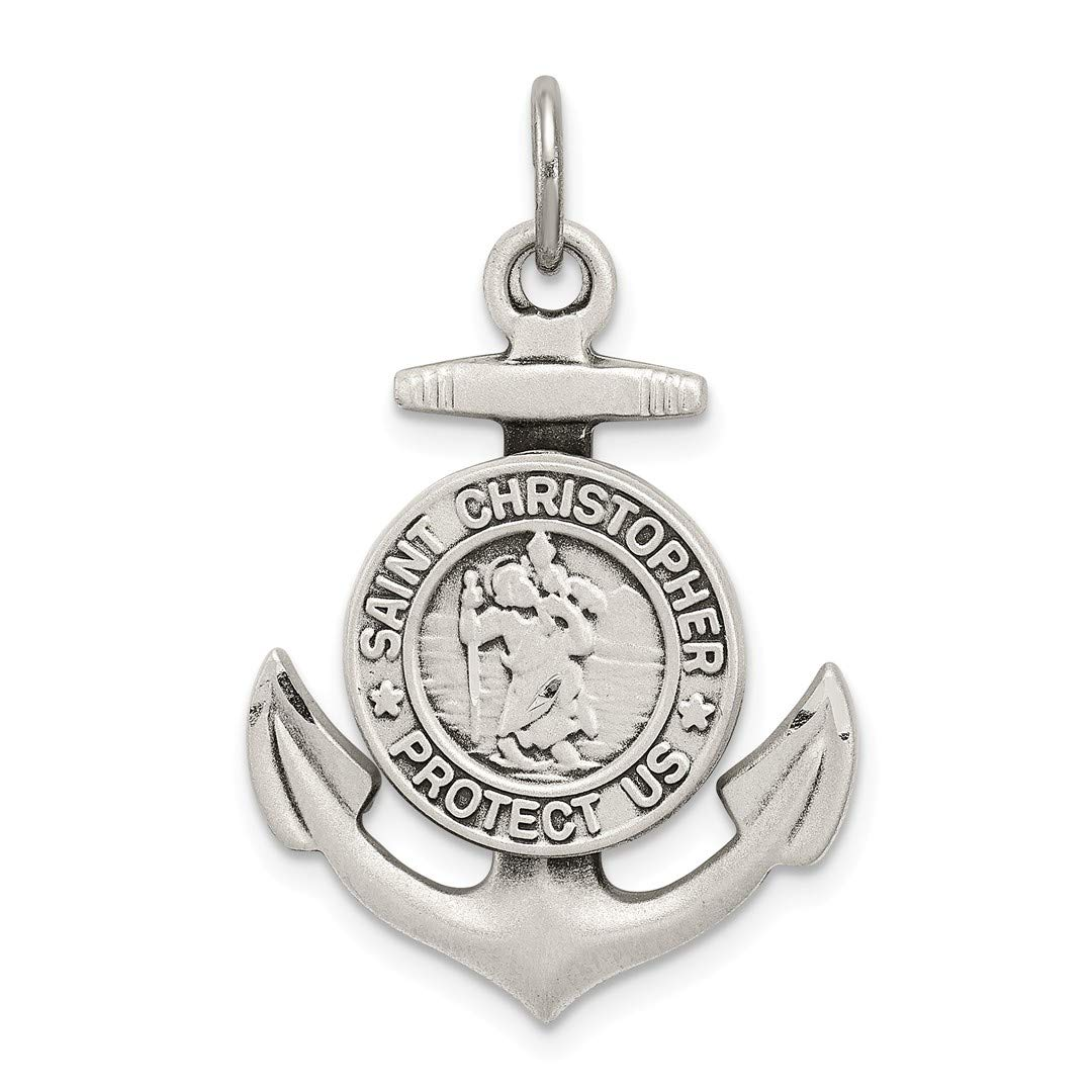 ICE CARATS 925 Sterling Silver St Christopher Nautical Anchor Ship Wheel Mariners Medal Pendant Charm Necklace Religious Patron Saint Fine Jewelry Ideal Gifts For Women Gift Set From Heart IceCarats 2458555836796330209
