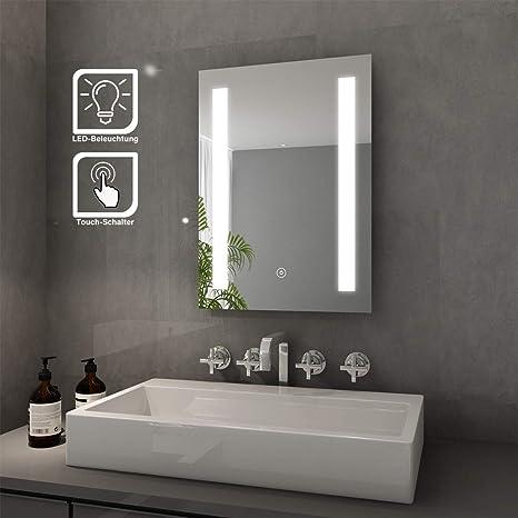 Elegant Badspiegel Mit Led Beleuchtung Lichtspiegel 45 X 60 Cm Kaltweiss Ip44 Energiesparend Sensor Schalter Bad Spiegel Badezimmer Wandspiegel