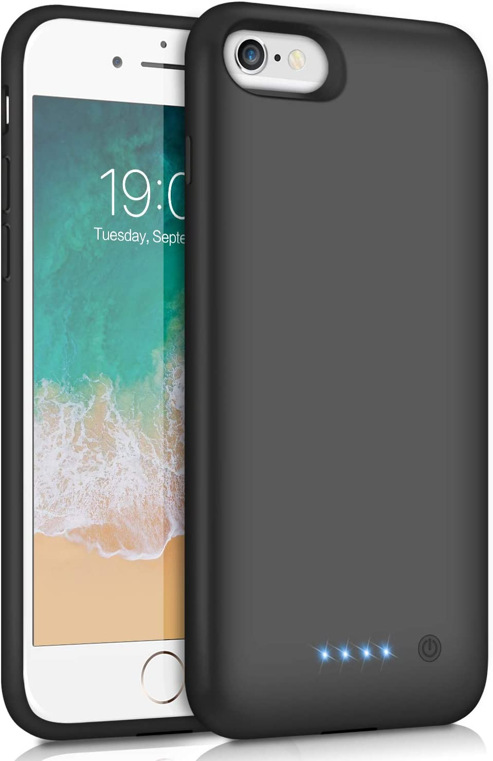 iPhone 6/6s/7/8 Battery Case Upgraded [6000mAh] Protective Portable Charging Case Rechargeable Extended Battery Pack for Apple iPhone 6/6s/7/8 (4.7') - Black