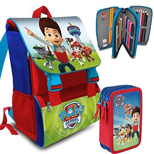 7579ad0eaf Kit Scuola School Promo Pack Zaino Estensibile + Astuccio 3 Zip  Accessoriato Cartella PAW PATROL Edizione