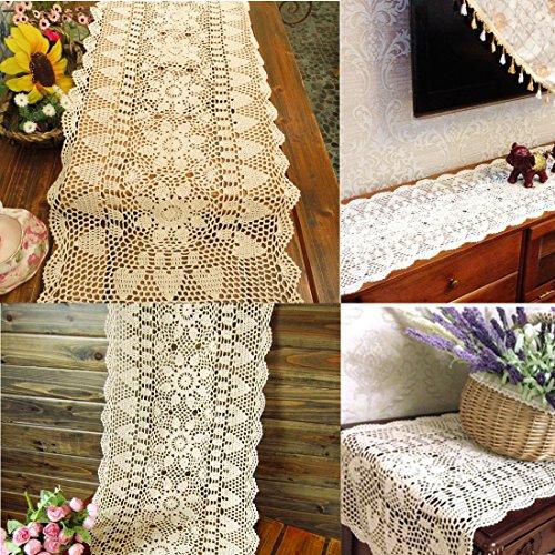kilofly Handmade Crochet Lace Rectangular Table Runner 15 x 36 Inch, Beige by kilofly (Image #4)