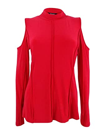 b2912670a384c5 DKNY Cold-Shoulder Turtleneck Top at Amazon Women s Clothing store