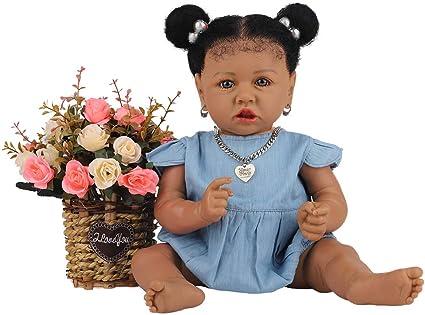 HOOMAI Lifelike Reborn Baby Dolls with Soft Body African American Realistic Girl Doll 22.8 Inch Best Birthday Gift Set