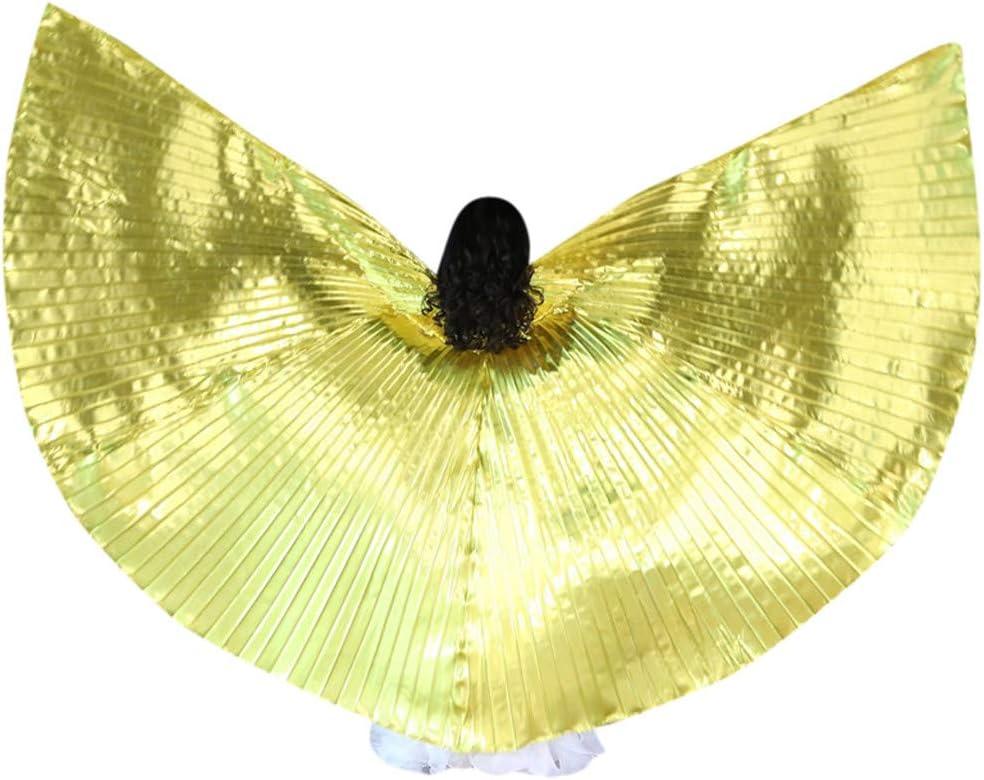 MerryWould Niña Alas de ángel Egipcio para Danza del Vientre con 2 Palos Telescópicos Accesorios de Luz 360 Grados India ISIS Wing Ventilador Bellydance Danza del Vientre alas para Navidad Fiesta