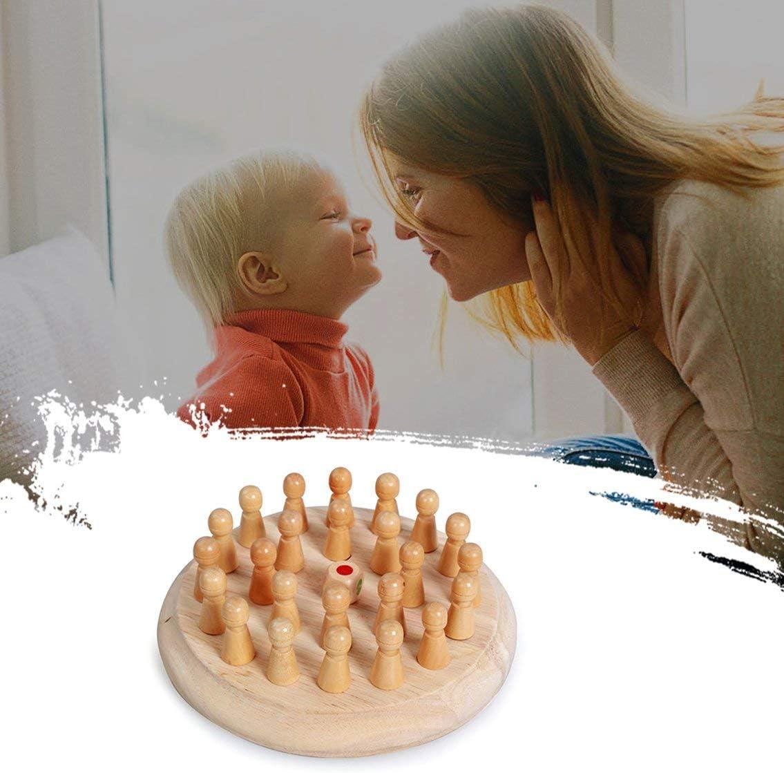 Banbie P/ädagogisches h/ölzernes Ged/ächtnis-Schachspielzeug der Kinder H/ölzernes Spielzeug-/Übungs-Baby-Ged/ächtnis-Schach Schachbrett W/ürfel-Satz