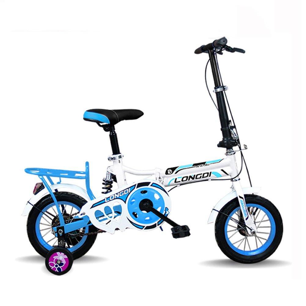 XQ 子供の自転車の前と後の超軽量のポータブル自転車男性と女性の学生の自転車 子ども用自転車 ( 色 : White and blue , サイズ さいず : 12-inch ) B07CK5BNR3 12-inch White and blue White and blue 12-inch