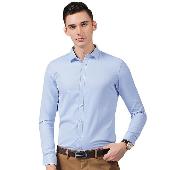 LINNUO Hombre Camisa Manga Larga Slim Fit Camisa de Traje ...