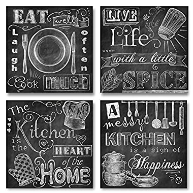Beautiful, Fun, Chalkboard Kitchen Signs; Messy Kitchen, Heart of the Home, Spice of Life, and Cook Much; Four 8x8in MDF Mounted Prints; Ready to hang!