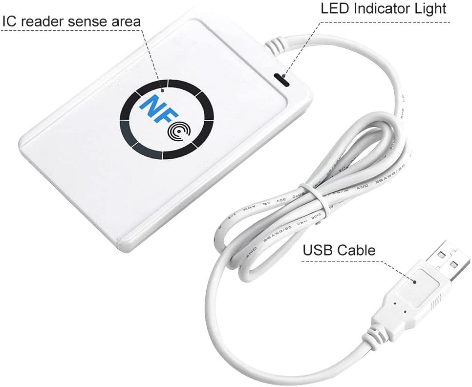 Cosiki NFC RFID Reader//Writer ACR122U ISO 14443A Free Software in White,Durable B