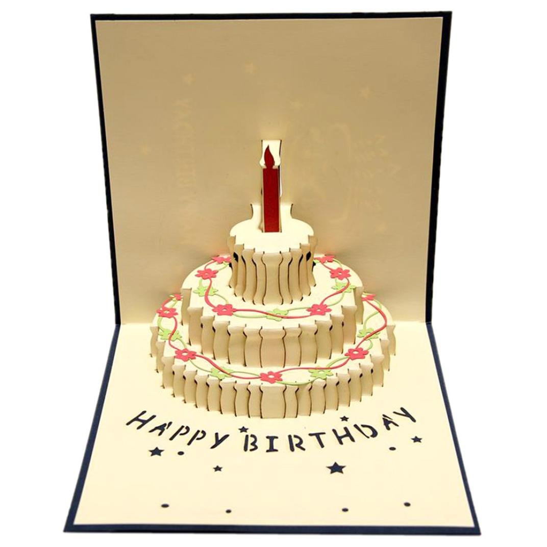 3D Pop Up Cards Happy Birthday Valentine Lover Anniversary Greeting Cards (Style B)