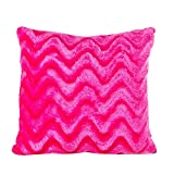 Freeby Plush Wavy Stripe Pillow Cover Plush Rayon 17x17 Inch Pillowcase Throw Pillow Case Sham Zipper for Decorative Home Chair Sofa (Hot Pink)