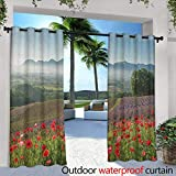 Flower Outdoor Curtains Poppy Flower Lavender Farm Foggy Morning Agriculture Outdoor Crops Red Purple Art Simple Stylish 72'' W x 108'' L Multicolor
