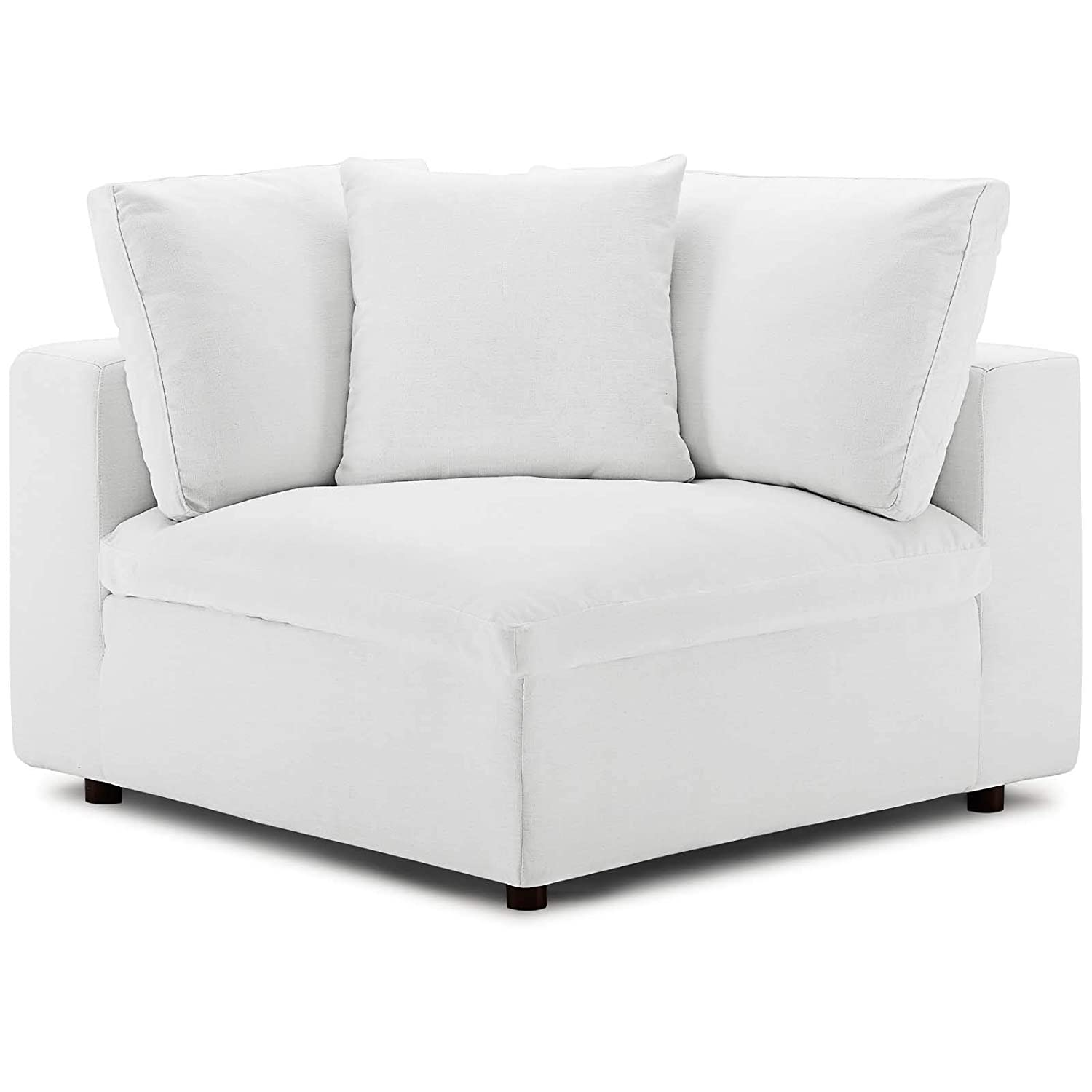 Peachy Modway Commix Down Filled Overstuffed Upholstered Sectional Sofa Corner Chair In White Caraccident5 Cool Chair Designs And Ideas Caraccident5Info