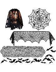 5-pack halloween dekorationer bordsdukar set 44 st 3D fladdermus väggklistermärken & rund spets spindelnät bordsduk & eldstäder halsduk skydd & svart bordslöpare & lampskärm