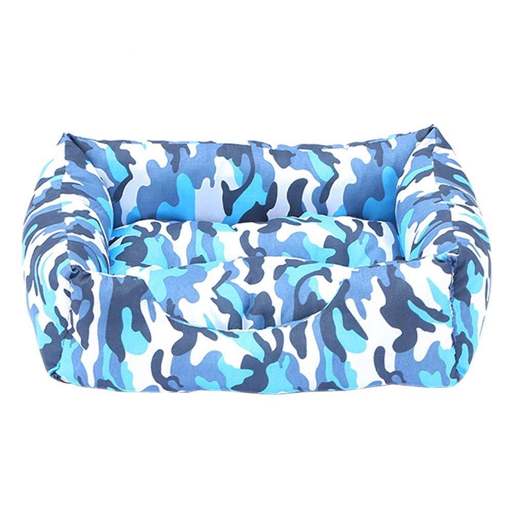 Xinjiener Tappetino per cani gatti, casetta per animali domestici, cuccia rettangolare mimetica con rivestimento esterno lavabile, camouflage blu L (58  50  17cm)