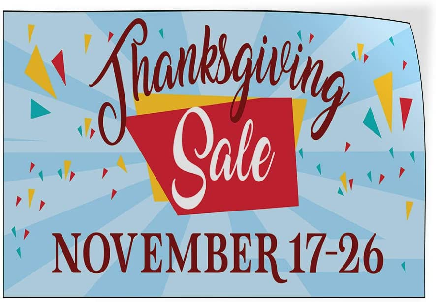 Custom Door Decals Vinyl Stickers Multiple Sizes Thanksgiving Sale Date Blue Business Sale Outdoor Luggage /& Bumper Stickers for Cars Blue 69X46Inches Set of 2