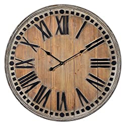 Cooperclassics Home Decorative Linden Clock Natural Wooden Finish With Rubbed White Highlight