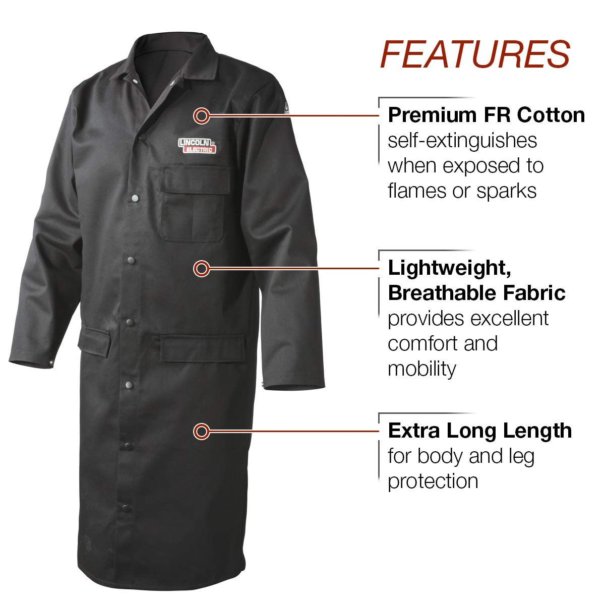 Lincoln Electric Welding Lab Coat | Premium Flame Resistant (FR) Cotton | 45'' Length | Black | Large | K3112-L by Lincoln Electric (Image #2)