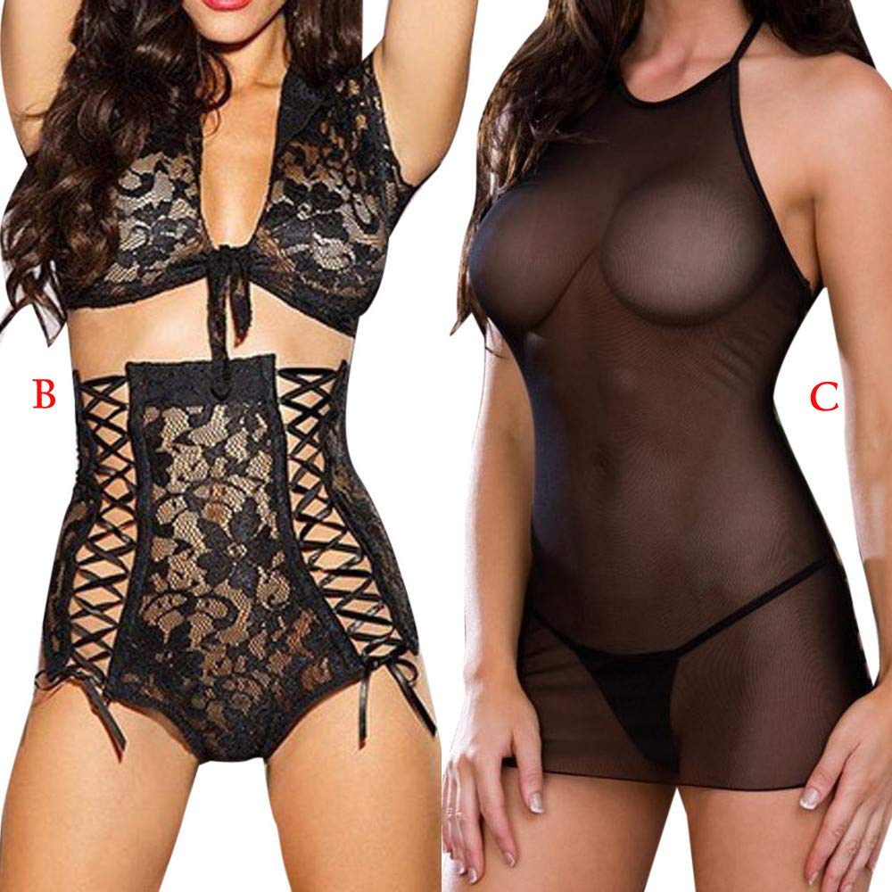 Womens Sexy 2PCS Underwear Lingerie Lace Perspective Bow Temptation Nightdress One Size (B) by Tanlo (Image #6)