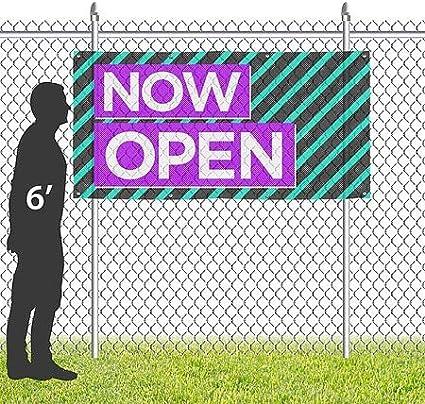 CGSignLab Now Open Modern Block Wind-Resistant Outdoor Mesh Vinyl Banner 8x4