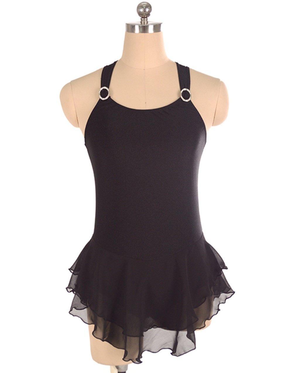 Heart&M Eiskunstlauf Kleid für Mädchen Frauen Rollschuhkleid Praxis Wettbewerb Kostüm Sleeveless Skating Trikots Schwarz
