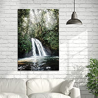 Canvas Wall Art - Landscape Waterfall in The Rainforest - Giclee Print Gallery Wrap Modern Home Art Ready to Hang - 12x18 inches
