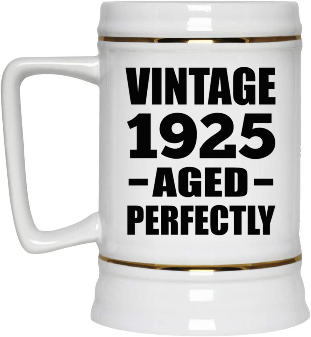 95th Birthday Vintage 1925 Aged Perfectly - 22oz Beer Stein Ceramic Bar Mug Tankard High Quality - Idea for Friend Kid Daughter Son Grand-Dad Mom Jarra de Cerveza, de Cerámica - Regalo para Cumplea