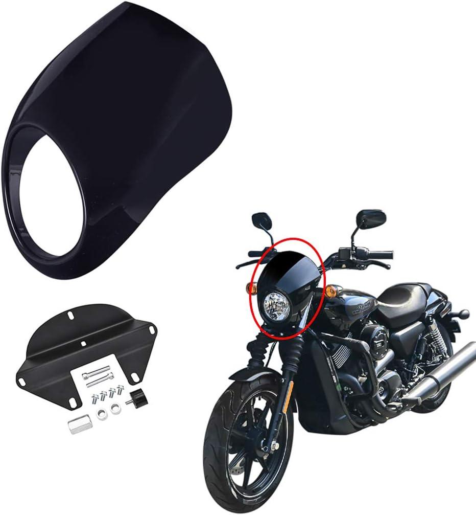 Gloss Black Benlari Motorcycle Headlight Fairing Mask Front Fork Cowl Visor with Bracket Compatible for Harley Davidson Sportster XL Dyna FX 1982-2020