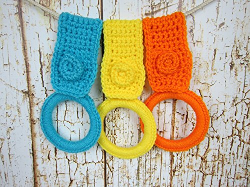 Kitchen Towel Holder, Handmade Kitchen Crochet Gift Item, Set of 3, Turquoise, Yellow, Orange