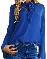DaySeventh Women Flare Sleeve V Neck Bandage Blouse Casual Tops Elegant Comfort Shirt