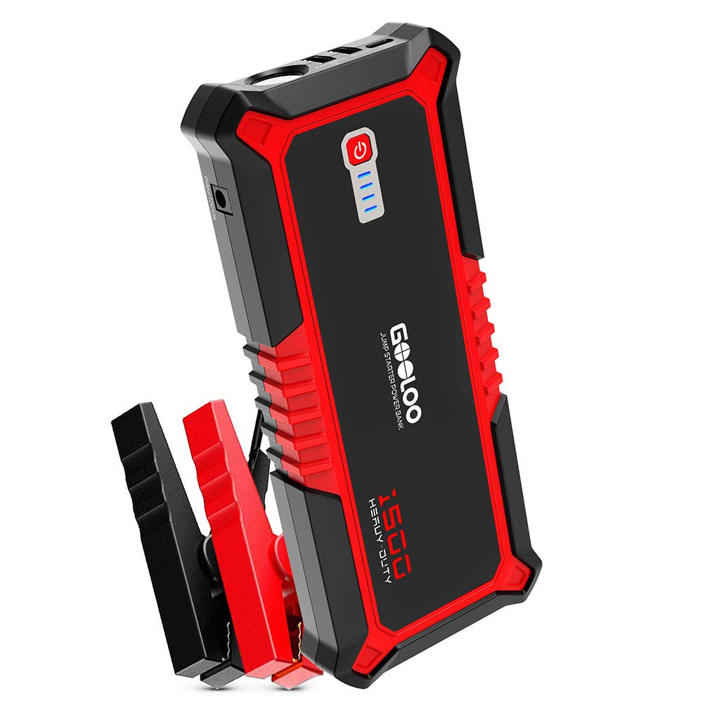 GOOLOO 1500A Peak SuperSafe Car Jump Starter Quick Charge 3.0 Auto Battery Booster Power Pack, Power Delivery 15W USB Type-C In And Out Portable Phone Charger, Built-in LED Light And Smart Protect