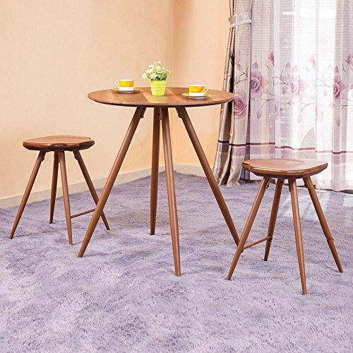 1PerfectChoice Ainslee 3 pcs Counter Height Small Round Table Dining Set Wooden Stools Oak