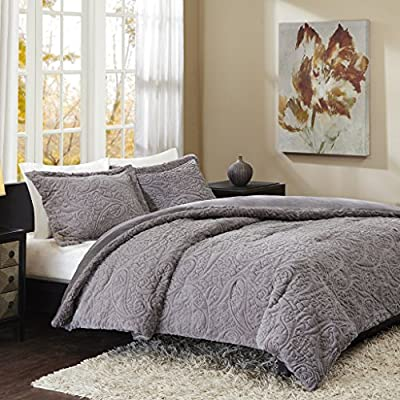 Madison Park Norfolk Super Soft Plush Faux Fur Paisley Blush Luxury Bedding Set Bedroom Comforters, King, Grey - Ultra soft and cozy Plush Faux Fur fabric, looks luxury and keeps you snuggly warm Classic Paisley Pattern , fashion and youth looking , great for college students Hypoallergenic down alternative filling with jump tack quilting - comforter-sets, bedroom-sheets-comforters, bedroom - 61 O2cyTzlL. SS400  -