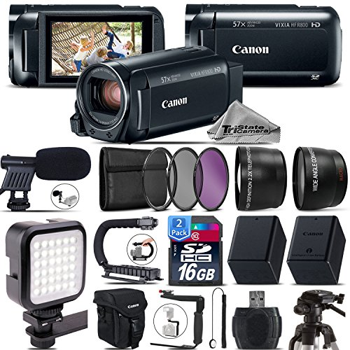 Canon VIXIA HF R800 Camcorder (Black) + 0.43X Wide Angle Lens + 2.2x Telephoto Lens + Shotgun Mic+ Video Stabilizing Handle + LED Kit + Backup Battery - International Version by TriStateCamera