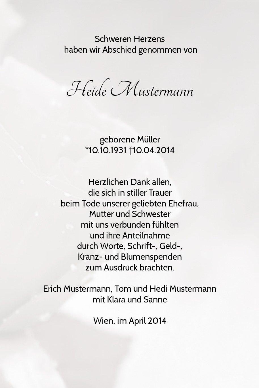 Tarjetas de agradecimiento luto hellesGrau, Rose, hellesGrau, luto 20 648401