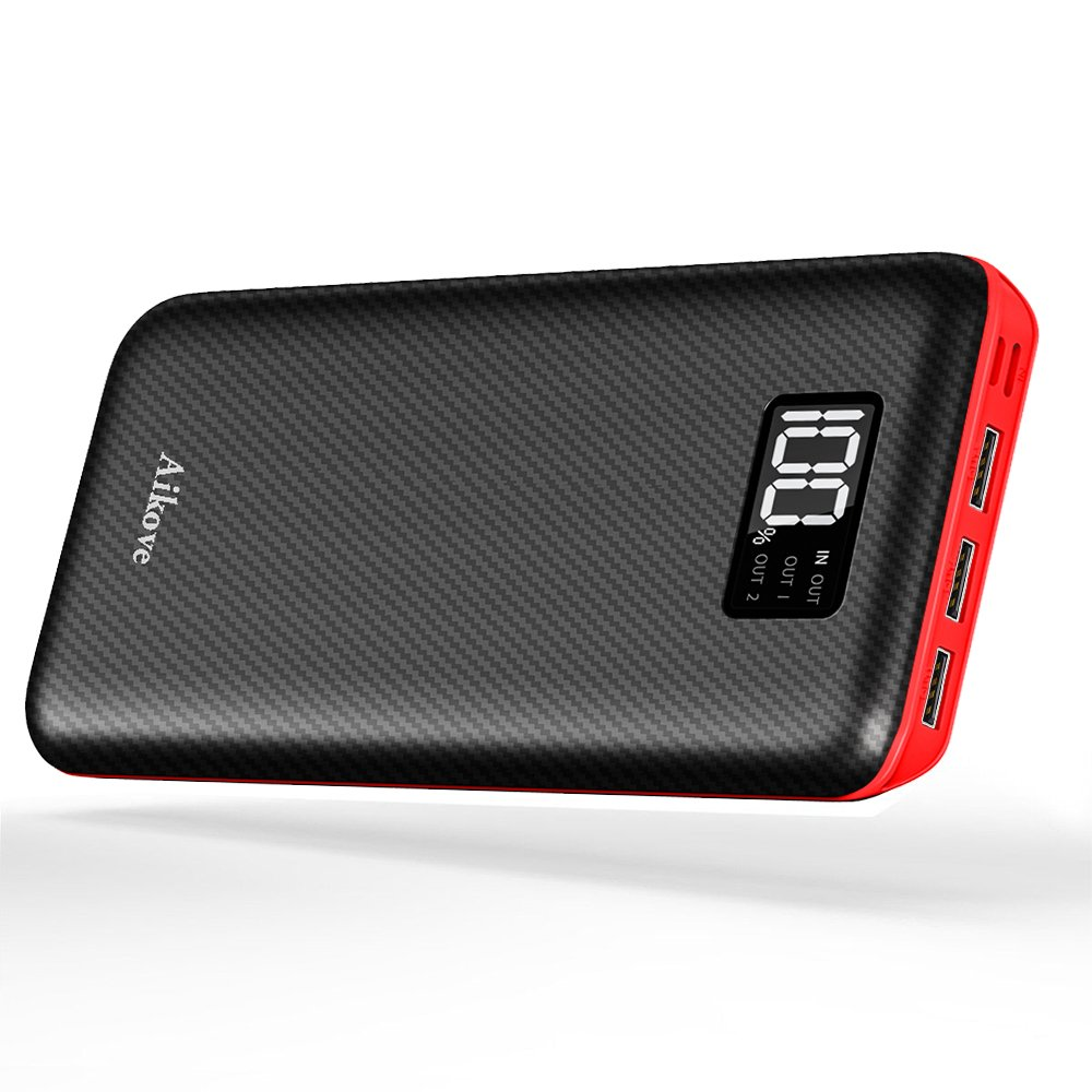 Power Bank Portable Charger 24000mAh - High Capacity with Digital Display LCD Screen, 3 USB Output & Dual Input, External Battery Pack for iPhone, iPad, Samsung Galaxy Smartphones and More Aikove